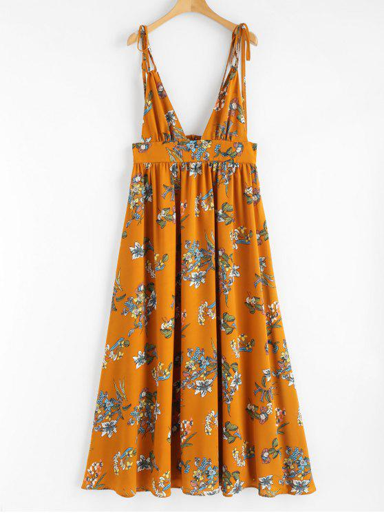 womens Print Plunging Neck Strappy Dress - ORANGE XL