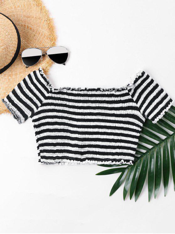 online Lettuce Trim Striped Smocked T-shirt - BLACK L