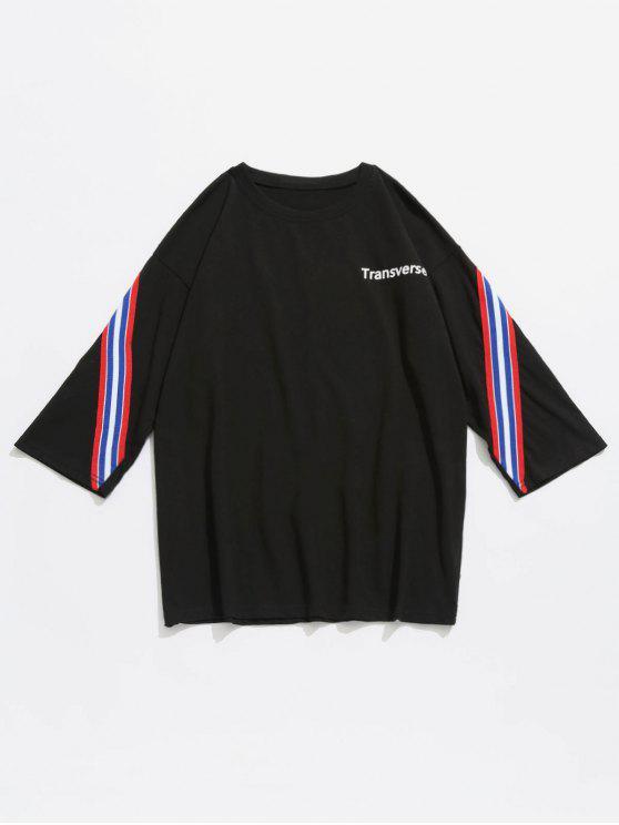 Gestreiftes Baumwoll T-Shirt - Schwarz L