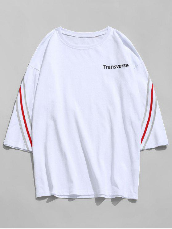 Gestreiftes Baumwoll T-Shirt - Weiß L
