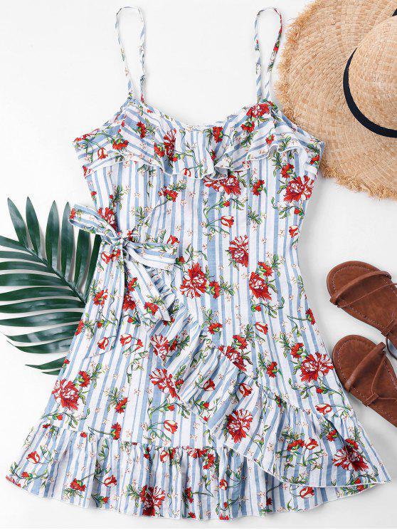 fancy Ruffle Floral Overlap Cami Dress - LIGHT BLUE L