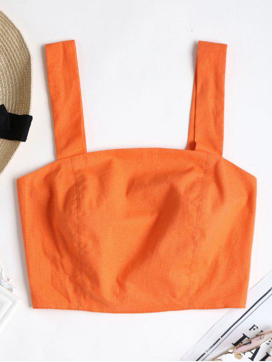 Top sin mangas recortado de Smocked - Naranja de Calabaza  L