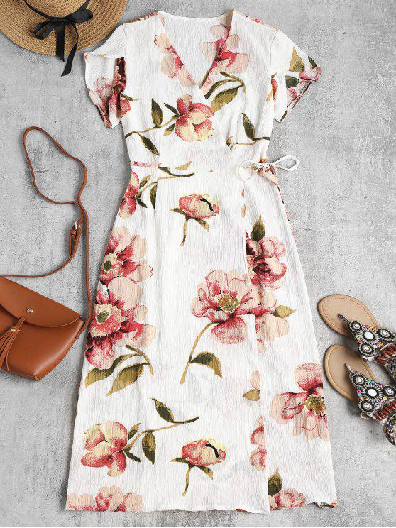 affordable Floral Midi Wrap Tea Party Dress - WHITE M