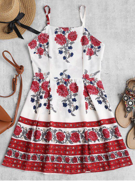 Robe Patineuse Courte à Fleurs - Blanc L