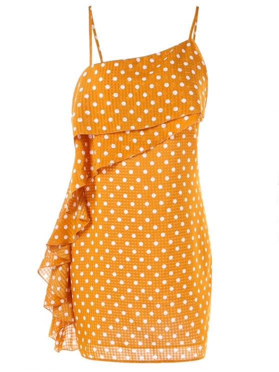 latest Polka Dot Ruffle Cami Dress - SCHOOL BUS YELLOW M