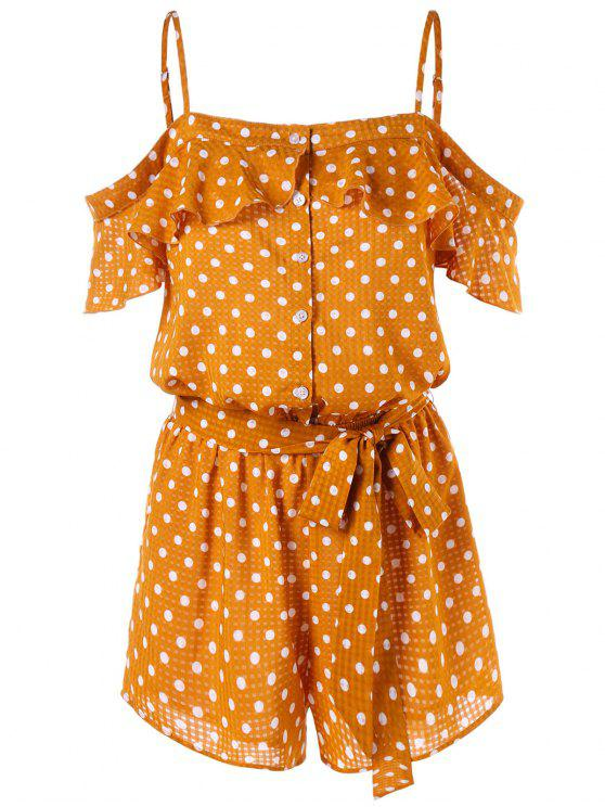 chic Open Shoulder Buttoned Polka Dot Romper - SCHOOL BUS YELLOW S