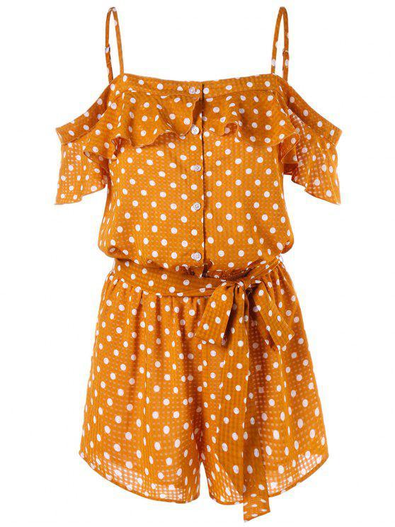 fancy Open Shoulder Buttoned Polka Dot Romper - SCHOOL BUS YELLOW M