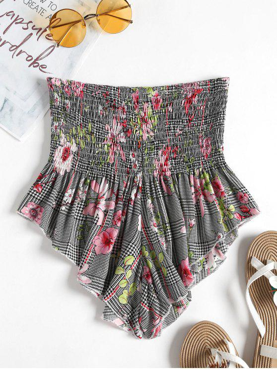 new ZAFUL Smocked Waisted Houndstooth Floral Shorts - MULTI-A S