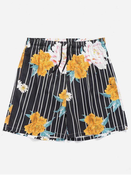Troncos de natação listrados florais com cordão - Preto M