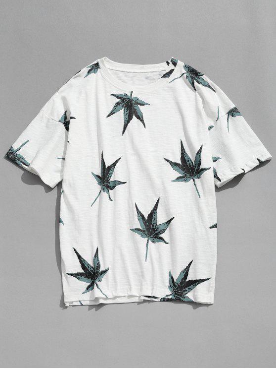 Camiseta de manga corta con estampado de hojas - Blanco S