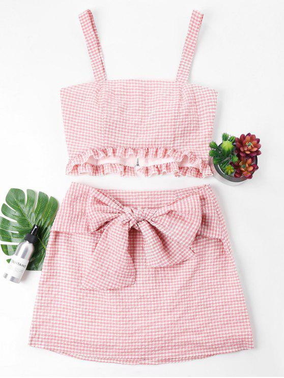fashion Gingham Top and Bow Skirt Set - PINK M