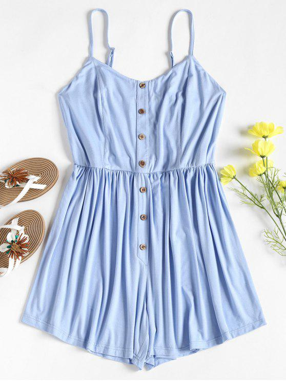 hot Smocked Button Cami Jersey Casual Romper - DAY SKY BLUE S