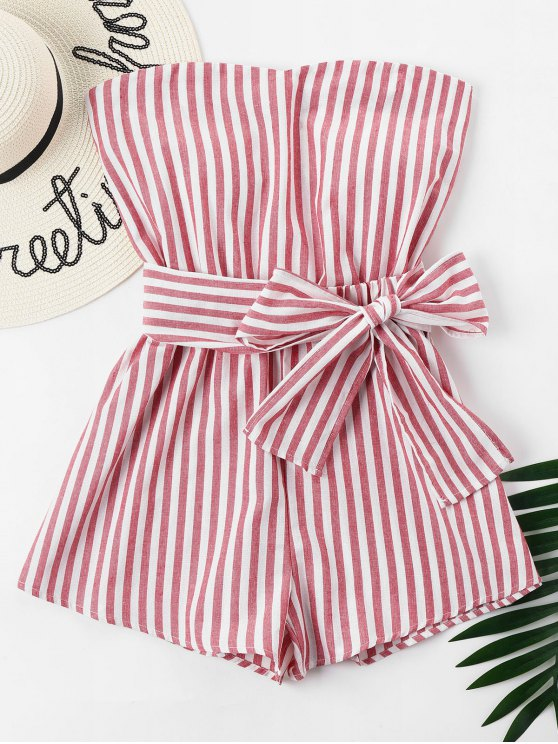 latest Striped Tube Romper - CHESTNUT RED L