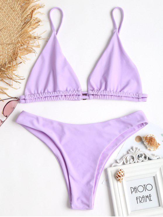 Bikini Bralette Con Perizoma A Gamba Alta - Mauve L