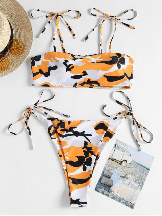 Bikini en Camouflage avec Cordons sur les Côtés - Orange S
