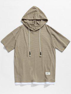 Hooded Striped Drop Shoulder Tee - Light Khaki Xl
