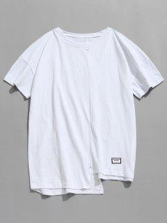 Asymmetrical Hem Casual Tee - White Xl