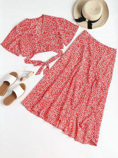 Print Wrap Top And Maxi Skirt Set - Red L