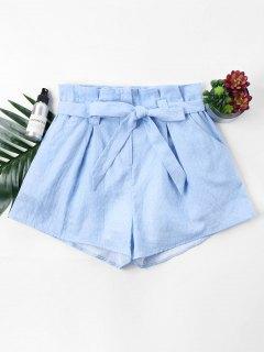 Polka Dot Belted Shorts - Light Blue S