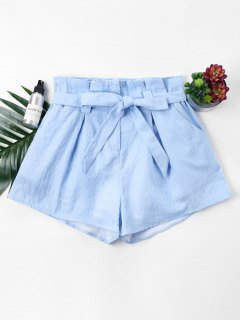 Polka Dot Belted Shorts - Light Blue L