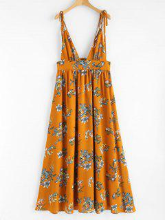 Print Plunging Neck Strappy Dress - Orange S