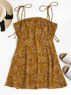 Floral Mini Tie Straps Dress - Orange Gold M