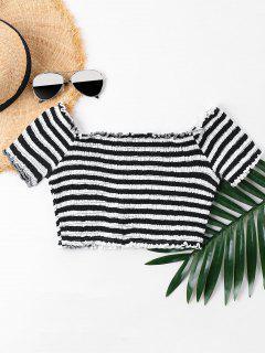 Lettuce Trim Striped Smocked T-shirt - Black L