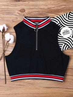 Camiseta Sin Mangas Con Cremallera Y Cuello Redondo - Negro Xl