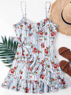 Ruffle Floral Overlap Cami Dress - Light Blue M