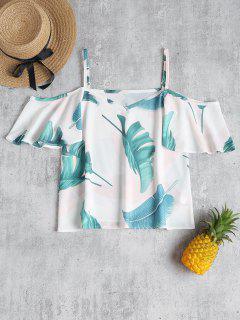 Top à Feuille De Palmier Tropical à épaules Nues - Blanc M