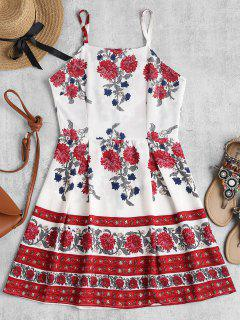 Bib Neck Floral Mini Skater Dress - White L