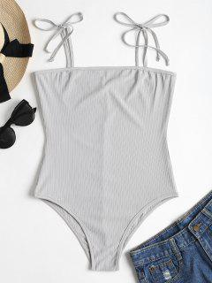 Tied Straps Ribbed Bodysuit - Light Gray M