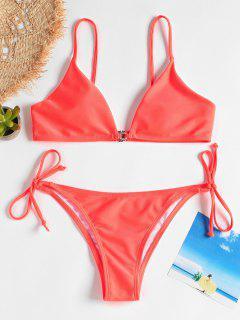 Cami Tied String Bikini - Lava Red M