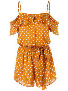 Open Shoulder Buttoned Polka Dot Romper - School Bus Yellow L