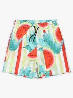 Drawstring Watermelon Leaf Swim Trunks - Green M
