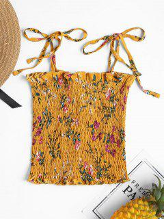 Floral Smocked Cami Tank Top - School Bus Yellow M
