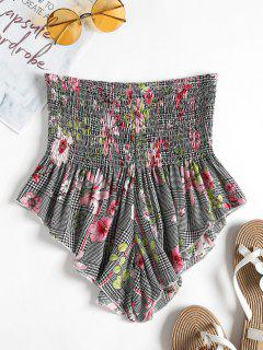 Smocked Waisted Houndstooth Floral Shorts - Multi-a S