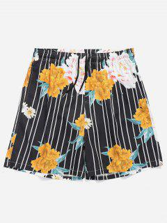 Drawstring Floral Striped Swim Trunks - Black L