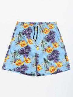 Flower Leaf Drawstring Swim Trunks - Light Blue S