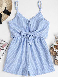 Tie Front Striped Cami Romper - Pastel Blue M