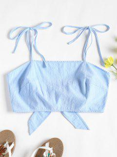Tie Strap Tie Back Crop Top - Day Sky Blue S