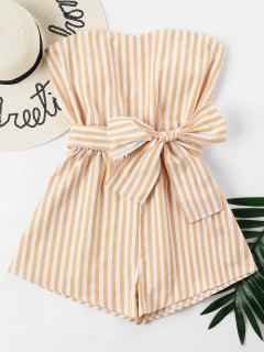 Striped Tube Romper - School Bus Yellow M