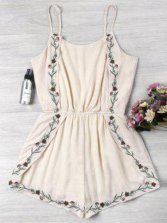 Embroidered Spaghetti Strap Romper - Warm White M