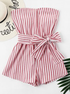 Striped Tube Romper - Chestnut Red M