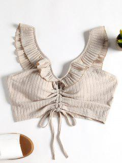 Ribbed Cinched Crop Top - Warm White L