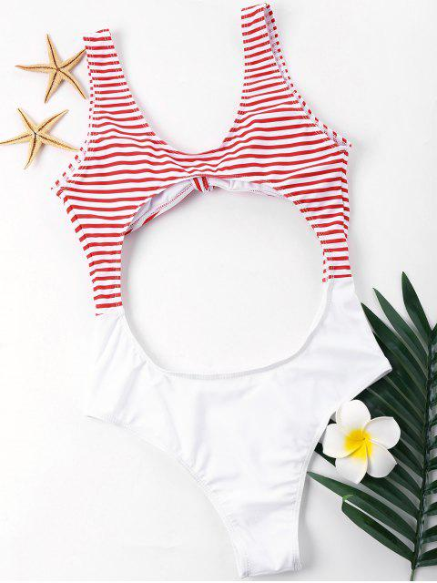 womens Cut Out Knotted Cheeky One Piece Swimwear - WHITE XL Mobile