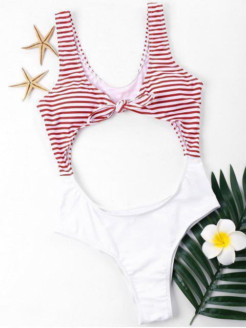 Corte el traje de baño anudado de una sola pieza - Blanco XL Mobile