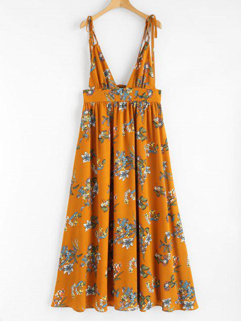 womens Print Plunging Neck Strappy Dress - ORANGE XL Mobile