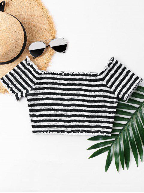 new Lettuce Trim Striped Smocked T-shirt - BLACK XL Mobile