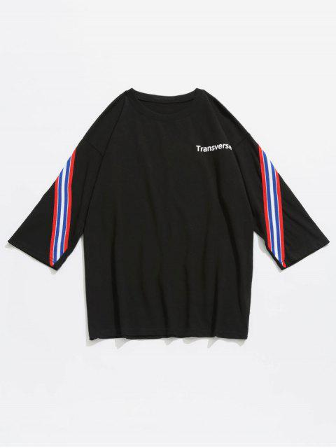 Gestreiftes Baumwoll T-Shirt - Schwarz L Mobile